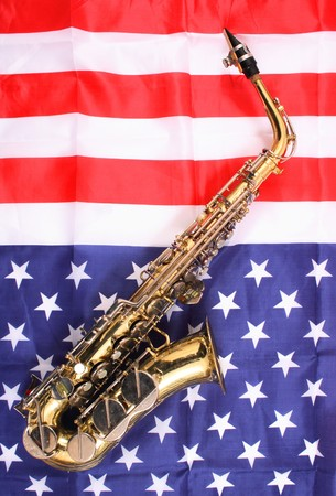 very old saxophone on the USA flag