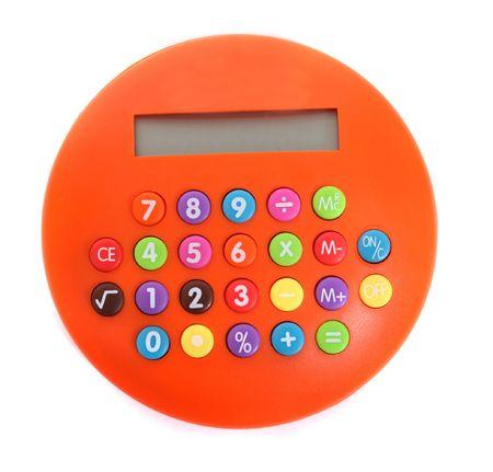 an orange calculator on the white background Stock Photo
