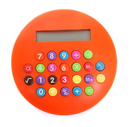 an orange calculator on the white background Stock Photo