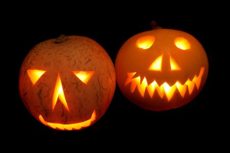 nice halloween pumpkins on the black background Stock Photo - 5304145