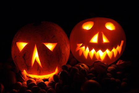 hollows: nice halloween pumpkins on the black background
