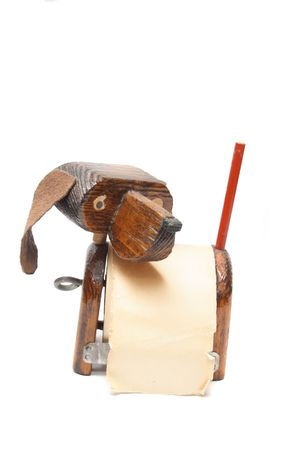 noteboard: old wooden dog for notes on the white background Stock Photo