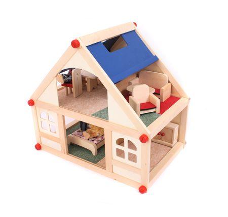 puppenhaus: sch�nes Haus Spielzeug auf dem wei�en Hintergrund isoliert