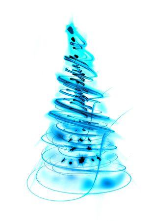 blue xmas tree on the white background photo
