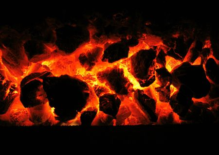 hot red  background from the home fireplace  photo