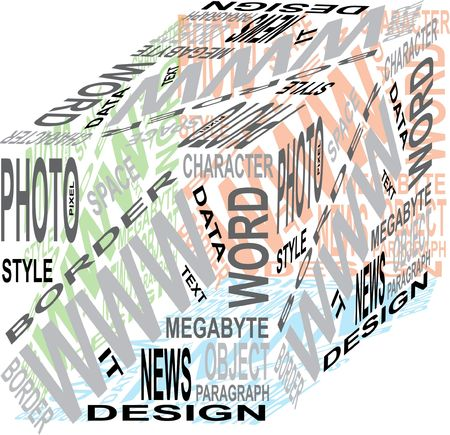 design cube from the words isolated on the white background Stock Photo - 6822236