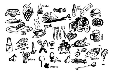 hand draw food icons isolated on the white background photo
