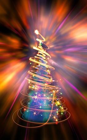 Xmas tree (luci) sullo sfondo del colore  Archivio Fotografico