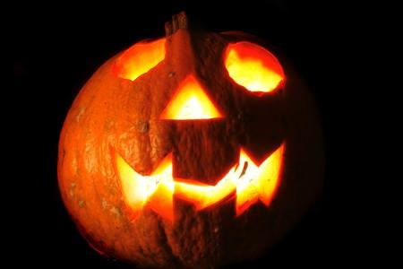hollows: pumkin with ligths in dark halloween symbol