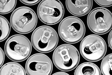 empty cans as new idea  drink background photo