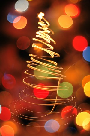 outdoor party: very nice christmas tree from the lights  Stock Photo