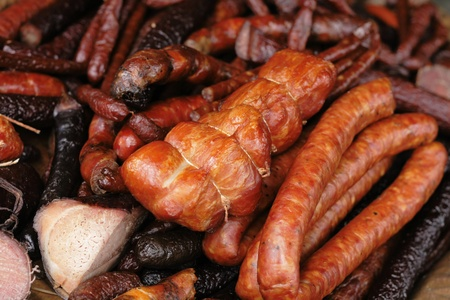 nice food: smoked meat as very nice food background