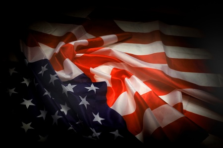bad day: usa flag in the dark night as national background
