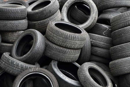 old tires as nice car technology background photo