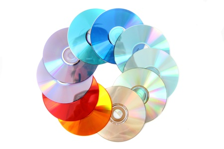 gigabytes: cd and dvd isolated on the white background