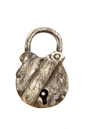 old closed padlock isolated on the white background Stock Photo - 9568842