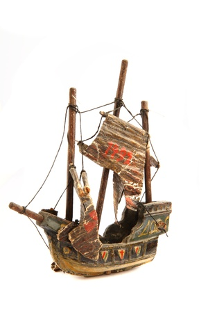 old ship model from 1492 isolated on the white background photo