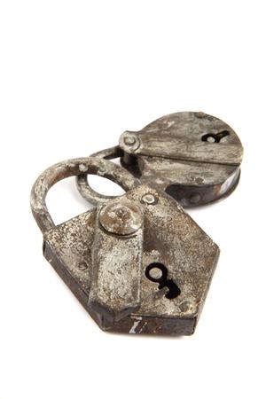 old padlock isolated on the white background Stock Photo - 9663858