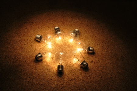 light bulbs in the night as nice energy background photo