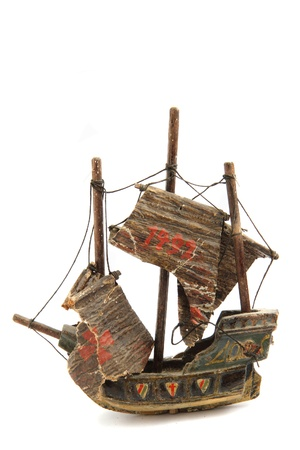 model of old ship isolated on the white background photo