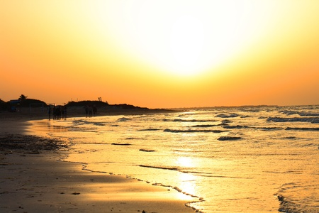 sunset on the Tunisian beach (Djerba island)  photo