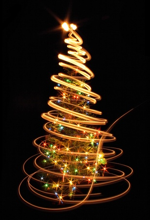 tree line: xmas tree (lights) on the black background