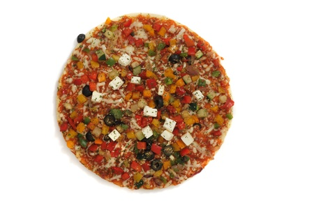 vegetable pizza isolated on the white background