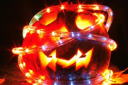 halloween pumpkin with light in the dark night  photo