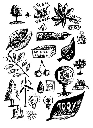 environmentalist label: natural objects (hand drawn) isolated on the white background