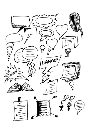 dialog icons isolated on the white background (hand drawn) Vector