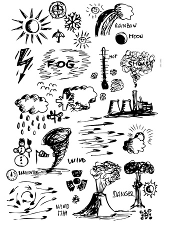 wheather icons (hand drawn isolated on the white background Vector