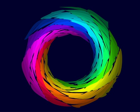 trance: color rainbow ring isolated on the black background Illustration