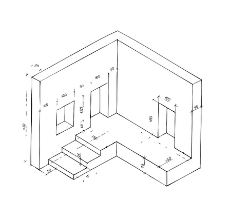 small plan of part of building isolated on the white background Vector