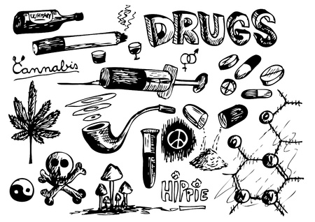 collection of drugs isolated on the white background Illustration