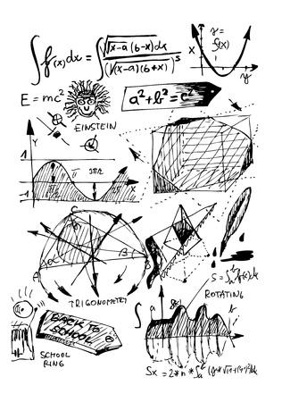 白の背景に分離した数学記号  イラスト・ベクター素材