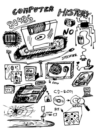 hand drawn icons from computer history isolated on the white background Stock Vector - 10027418