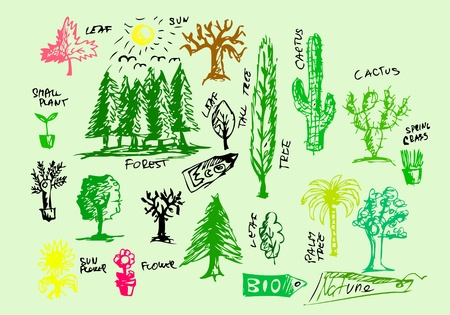 hand drawn natural icons isolated on the white nackground Vector