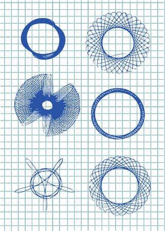elipse: hand drawn circle symbols in blue color