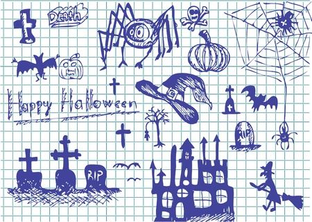 nice hand drawn halloween objects in blue color