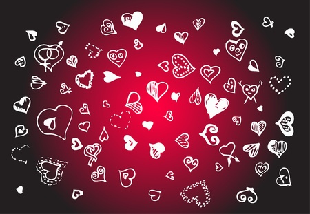 white hearts isolated on the red background Vector