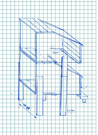 hand drawn architecture details in blue color  Vector