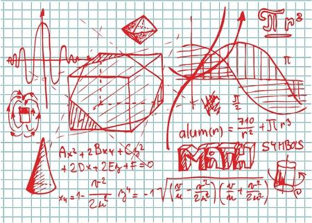붉은 색에서 손으로 그린 수학 기호 일러스트