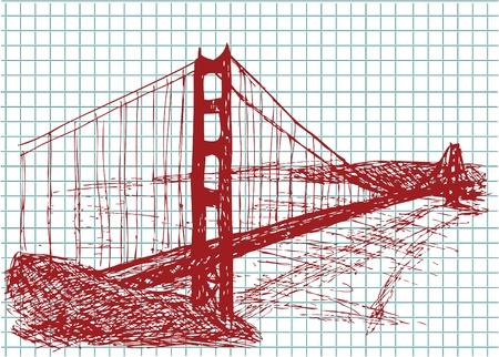 赤い色のゴールデン ゲート ブリッジ  イラスト・ベクター素材