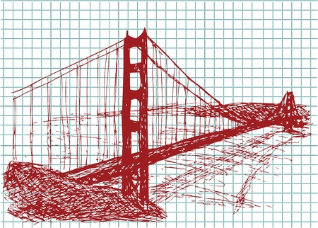 steel bridge: golden gate bridge in the red color Illustration