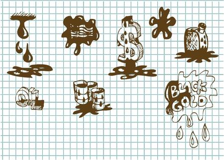 bp: hand drawn oil symbols in brown color  Illustration