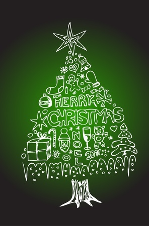 christmas tree from the white object on the green background Vector