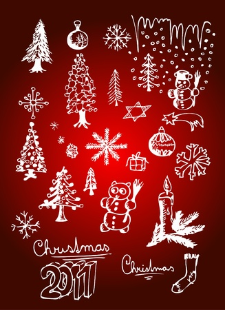 white christmas objects isolated on the red background Vector