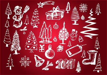 white christmas objects isolated on the green background Vector