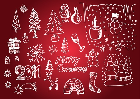 white christmas objects isolated on the red background Stock Vector - 10102735