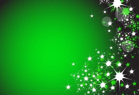 緑の色でクリスマス雪フレークの背景